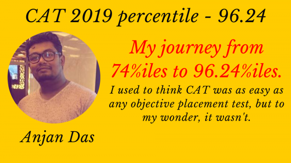 My journey from 74 to 96.24%iles in CAT. If I can do that then anyone can. Here's my story.