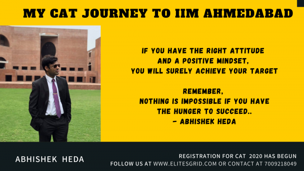 CAT journey of Abhishek Heda, IIM A student